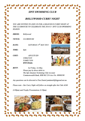 Spit Club Bollywood Curry Night Invitation